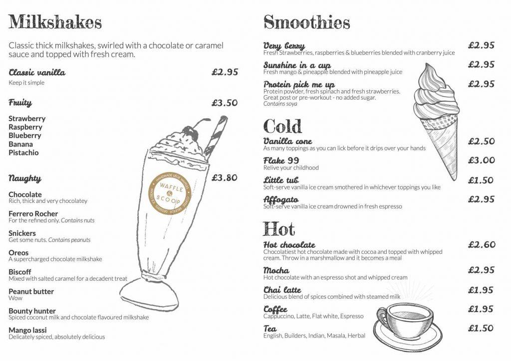 Waffle & Scoop Menu December 2020 - Drinks