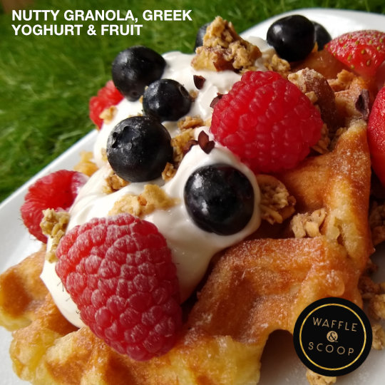 Nutty Granola, Greek Yoghurt Liege waffle at Waffle & Scoop