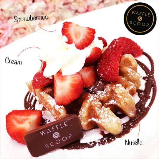 Strawberries and Nutella at Waffle & Scoop